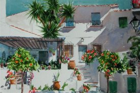 watercolour painting of a Spanish village house by painting tutor Andrew Johns