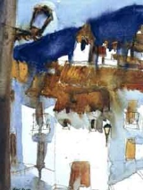 watercolour painting with view of a Spanish village by painting tutor Klaus Hinkel