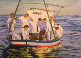 watercolour painting of Spanish sailors in the sea by host Sally Pead