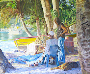Watercolour painting Fisherman by Doug Mays