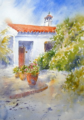 Watercolour painting of a Entrance of a Spanish house by painter Joanne Thomas