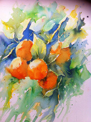 Watercolour painting of tropical spanish fruits by painter Joanne Thomas