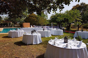 Wedding dinner party in open air