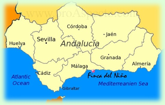 Map of Andalusia with Costa del Sol and Málaga
