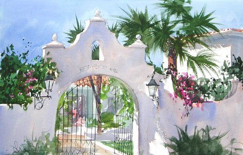 Watercolour painting by painting tutor Andrew John of entrance of Finca del Niño