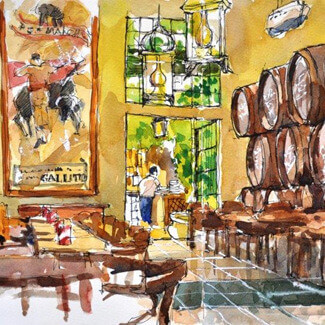 watercolour painting of the Bar El Pimpi by painting tutor Barry Herniman