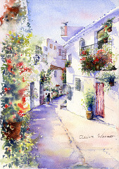 painting of a street view of a typical Spanish white village by painter Diana Golledge