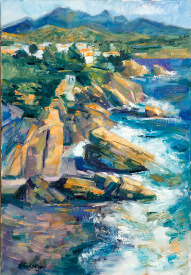 painting of coast line of the Costa del Sol by painter Diana Golledge