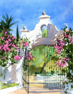 Watercolour painting of Finca Gate by Andrew John