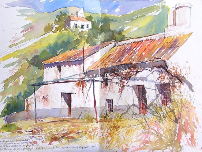 Watercolour painting by painting tutor Barry Herniman of an Old Hacienda