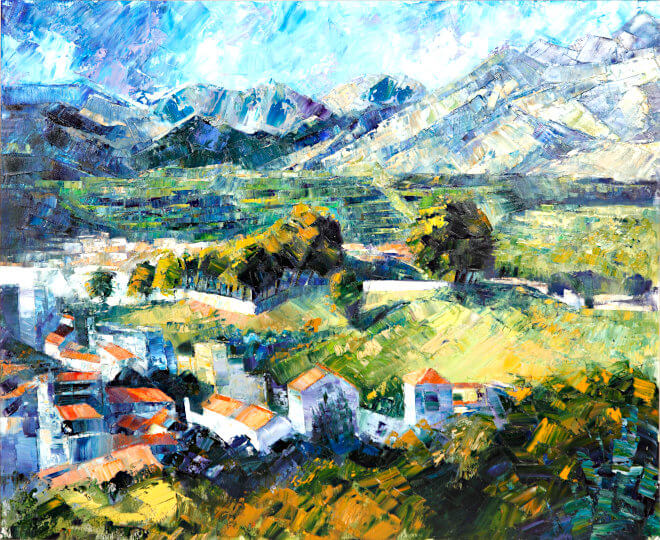 Watercolour painting by painting tutor Diana Golledge of Living in the Campo