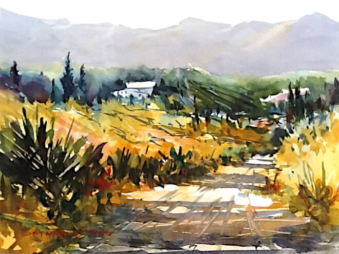 Watercolour painting of Country Side by painter Doug Mays