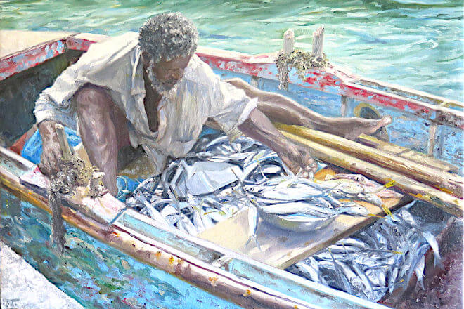 painting of Fisherman Carenage by painter Judith Jarvis