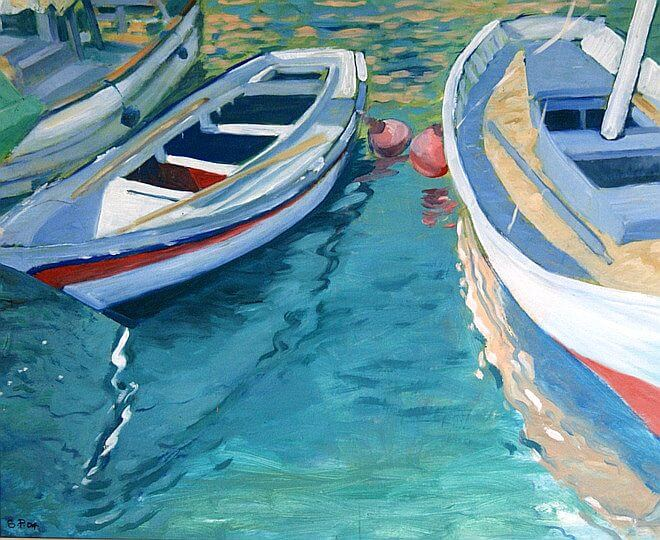 Watercolour painting of Boats in port by painter Sara Pead