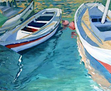 Boats in port, painting by Sara Pead