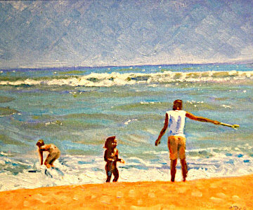 Family at the beach, painting by Sara Pead