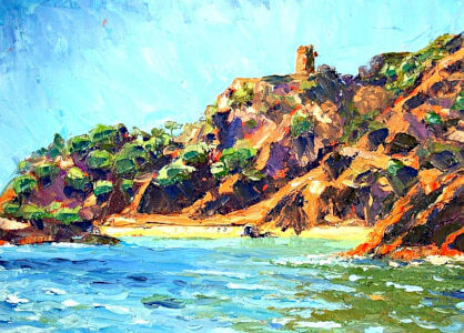 Maro Cliffs, painting by Sara Pead
