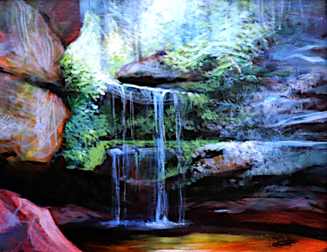 Watercolour painting by painting tutor Tonja Sell the Demo Falls