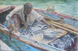 painting of a fisherman caenage by painter Judith Jarvis
