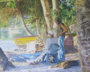 painting of Fisherman on the beach by painter Judith Jarvis